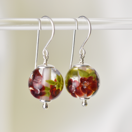 Earrings with deep red...