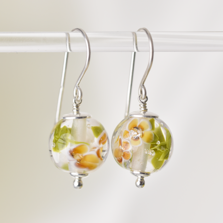 Essential earrings with amber glass...