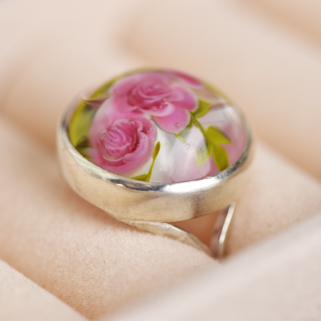 Galina ring with roses, in sterling...