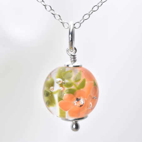 Essential necklace with apricot glass flowers
