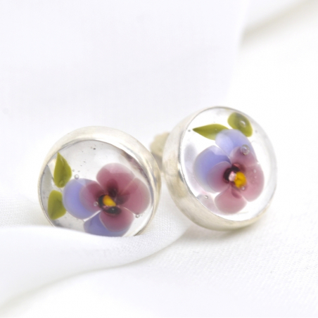 Post earrings with purple pansies on clear,...