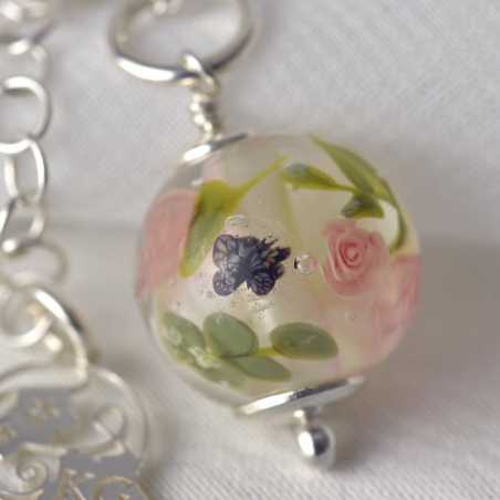 Camille necklace with a glass ivory...