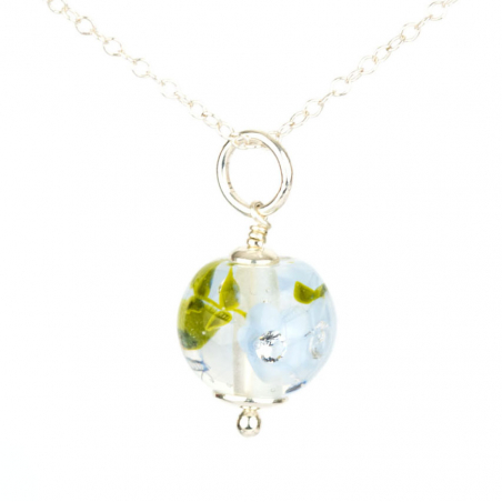Essential necklace with light periwinkle glass...