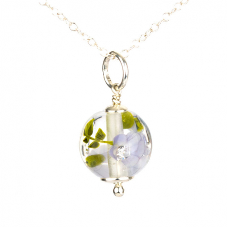 Essential necklace with mauve glass flowers