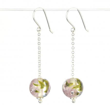 Long earrings with lilac...