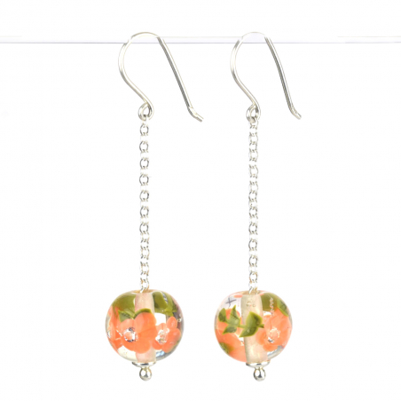 Long earrings with apricot...
